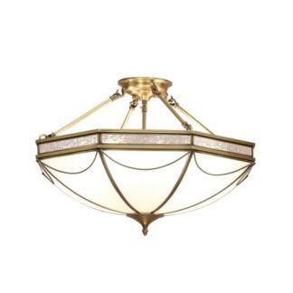 Duża lampa sufitowa Russell - Interiors - mleczne szkło, mosiądz