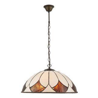 Duża lampa wisząca Aragon - Interiors - 3 żarówki - szkło witrażowe