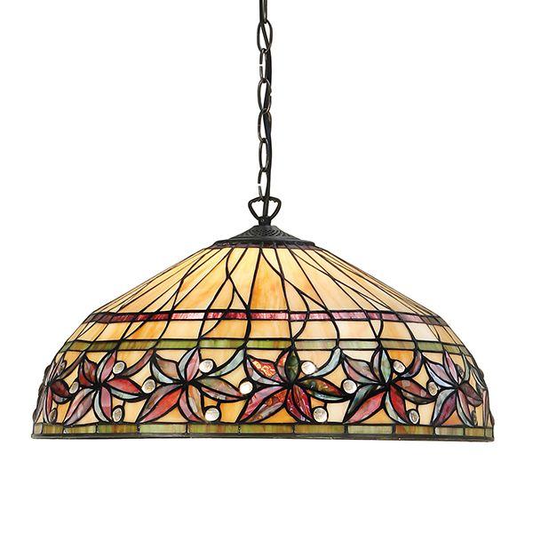 szklana lampa wisząca z kwiecistym ornamentem