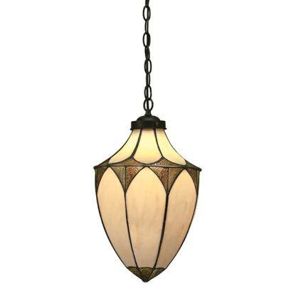 Duża lampa wisząca Brooklyn - Interiors - beżowy klosz