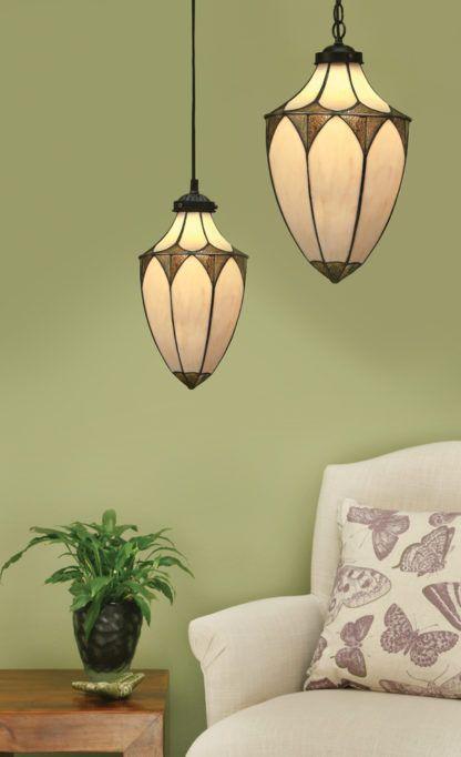 beżowa witrażowa lampa ze szkła Tiffany