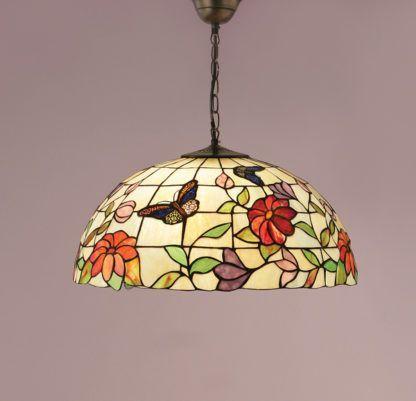 wzorzysta szklana lampa do salonu lub dużej kuchni