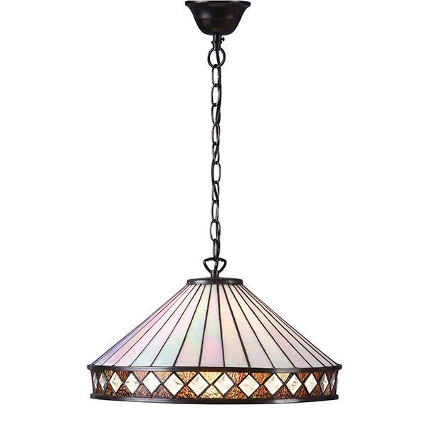 szklana lampa wisząca w pastelowym kolorze z brązowymi akcentami