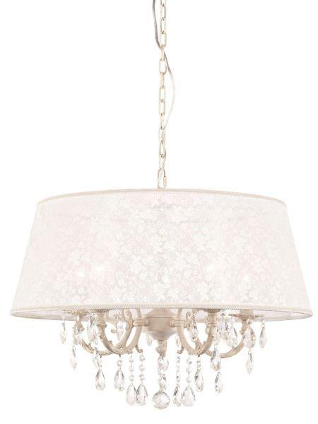 lampa wisząca z kryształami i szerokim kolistym abażurem