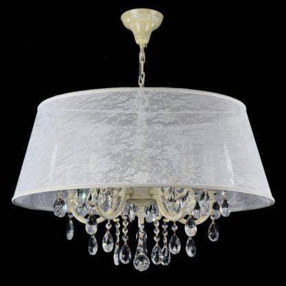 Duża lampa wisząca Filomena - Maytoni - biała, kryształki