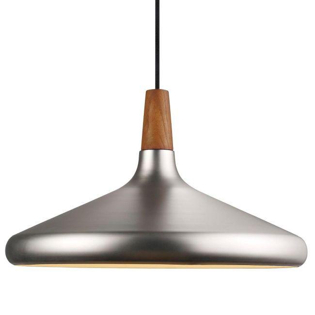 ciemno srebrna lampa wisząca z płaskim kloszem, styl industrialny