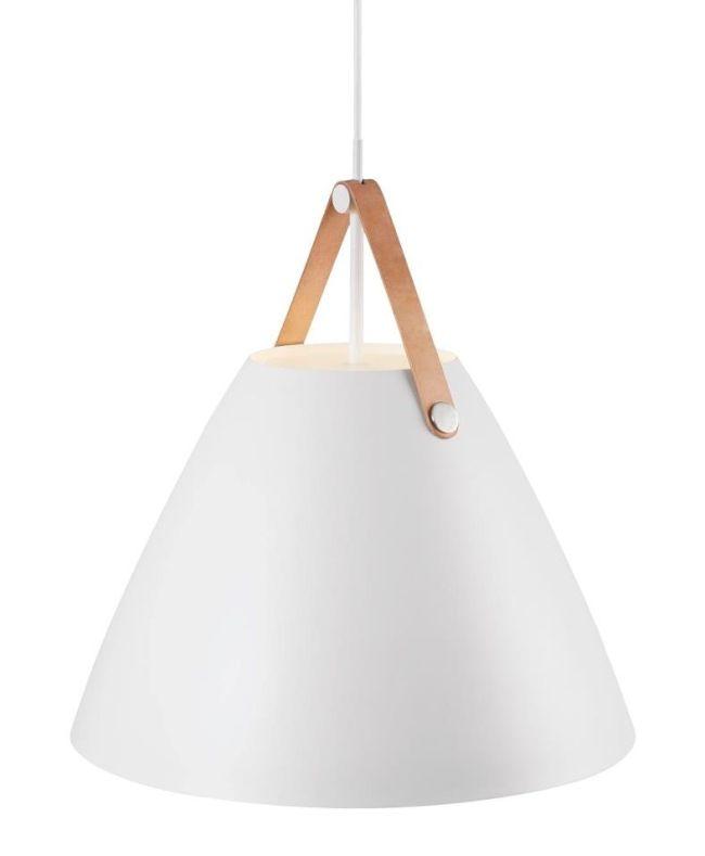 nowoczesna lampa wisząca z białym kloszem szerokim na dole