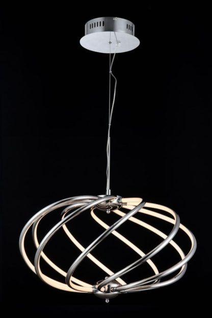 lampa wisząca srebrna z kręconych drutów