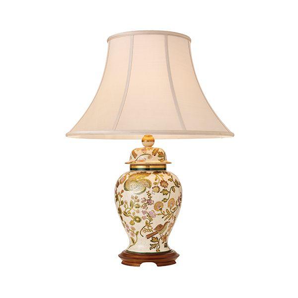 ręcznie robiona lampa stołowa o ceramicznej podstawie i malowanym wzorze