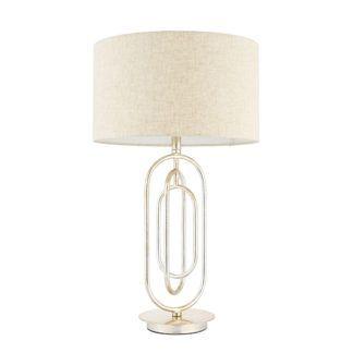 Elegancka lampa stołowa Meera - Endon Lighting - metal, tkanina