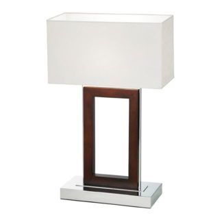Elegancka lampa stołowa Portal - Endon Lighting - kremowy abażur, brąz