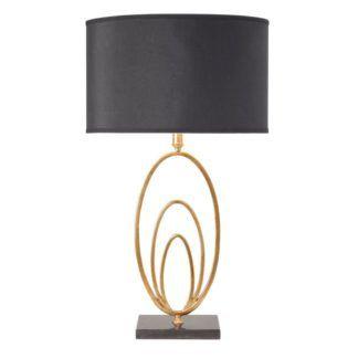 Elegancka lampa stołowa Vilana - Endon Lighting - czarna, złota