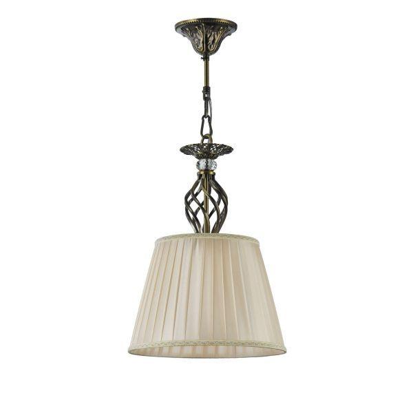 lampa wisząca z kręconymi drutami stare złoto z abażurem