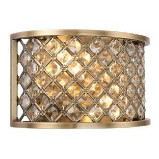Elegancki kinkiet Hudson - Endon Lighting - złoty, kryształki