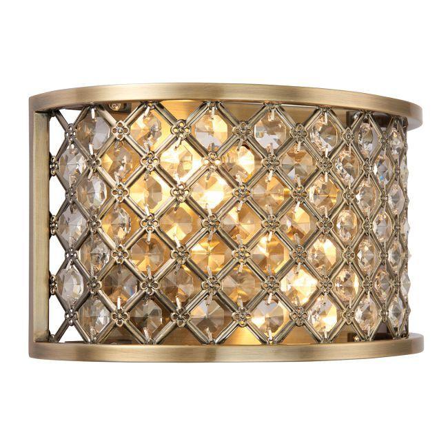 mosiężna lampa ścienna z kryształowymi dodatkami