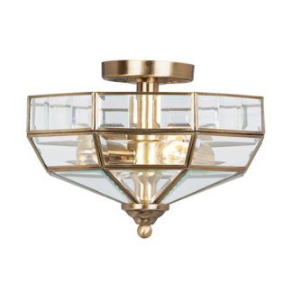 Elegancki plafon w stylu nowojorskim - klosz Art Deco brąz
