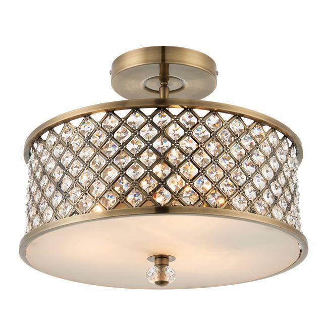 lampa sufitowa w stylu glamour ozdobiona w kryształki
