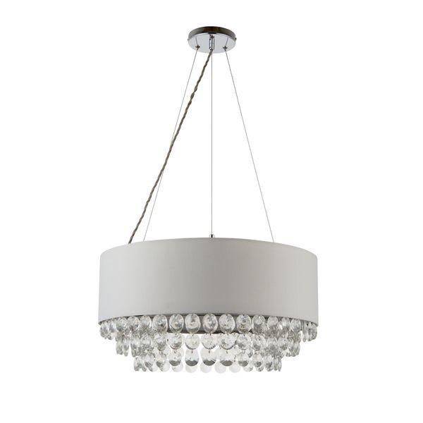 Elegancki żyrandol Amalea - Endon Lighting - szary abażur