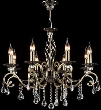 przepiękny żyrandol ze świecznikami i kryształami pozłacany postarzany