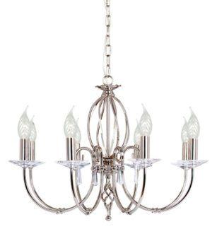 Elegancki żyrandol Grace na osiem żarówek - srebrny
