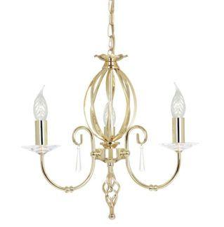 Elegancki żyrandol Grace na trzy żarówki - złoty