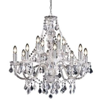 Elegancki żyrandol na 12 żarówek Clarence - Endon Lighting - srebrny, kryształki