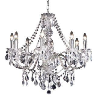 Elegancki żyrandol na 8 żarówek - Clarence - Endon Lighting - srebrny, kryształki