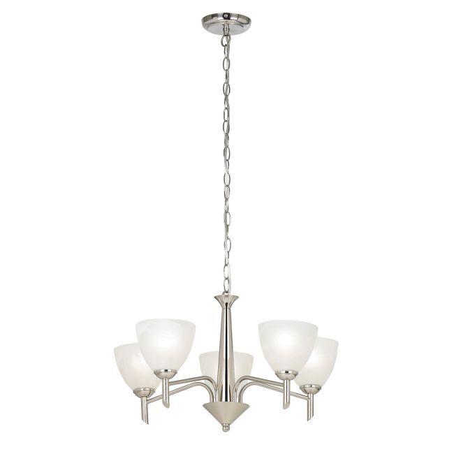 Elegancki żyrandol Nesson - 5 żarówek - Endon Lighting - srebrny