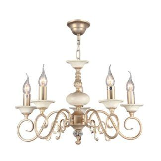 Elegancki żyrandol Perla - Maytoni - kremowy, złoty