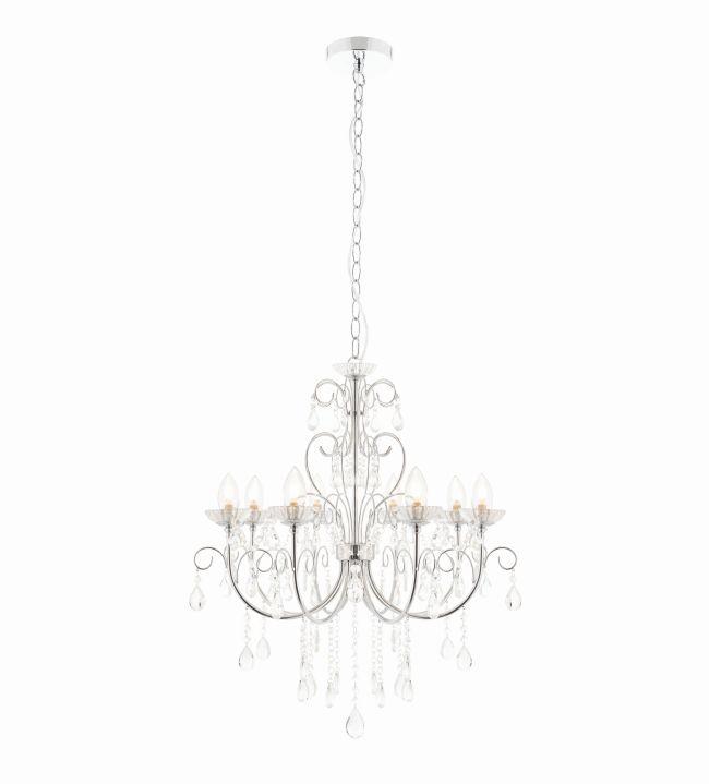 kryształowy, srebrny żyrandol do łazienki, glamour