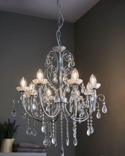 stylowy żyrandol ze srebrną podstawą, kryształy, żyrandol do łazienki