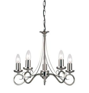 Elegancki żyrandol Trafford  - Endon Lighting - srebrny