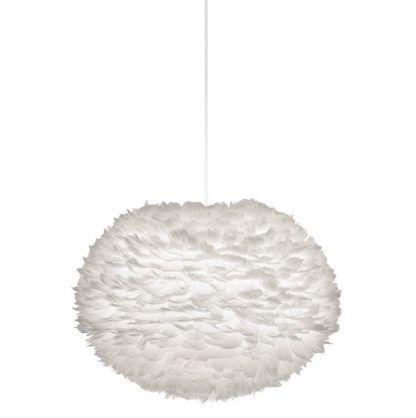 lampa wisząca kula, klosz z naturalnych piór, biała