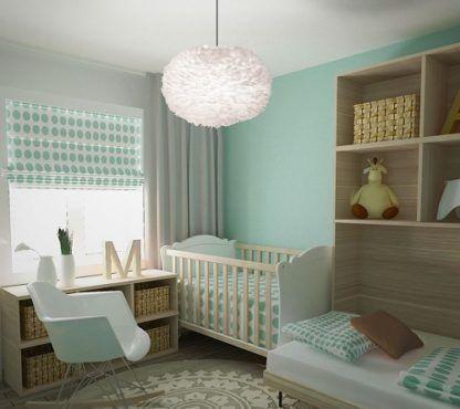 lampa wisząca biała kula z piór - aranżacja pokój dziecięcy błękit