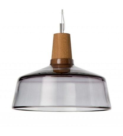 Lampa wisząca szklano drewniana - Industrial Dreizenhgrad - antracytowy