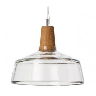 Lampa wisząca szklano drewniana - Industrial Dreizenhgrad - transparentna