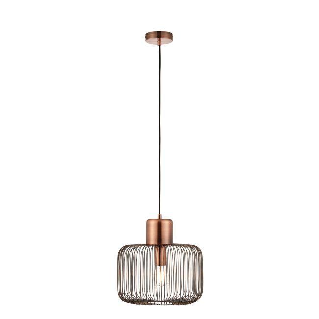 Industrialna lampa wisząca Nicola - Endon Lighting - miedź