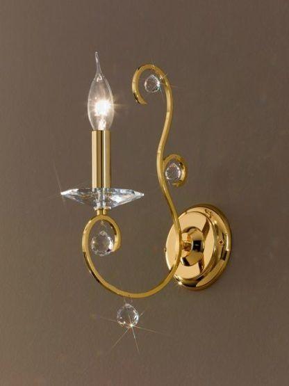 elegancki kinkiet, złoty z kryształkami, styl klasyczny