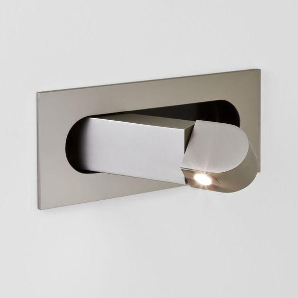 nowoczesny kinkiet do zabudowy w ścianie, matowy, srebrny, lampa do czytania