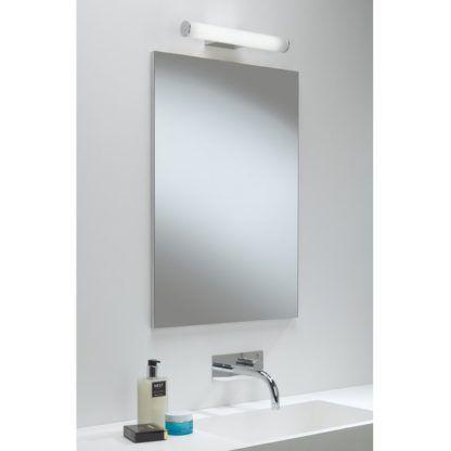 poziomy kinkiet do łazienki, biały, srebrny, styl nowoczesny, świecąca tuba