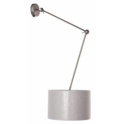 szara lampa ścienna z funkcją regulowania kąta nachylenia klosza