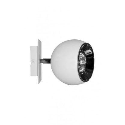 biała lampa ścienna z matowym kloszem w kształcie kuli