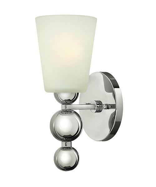 Kinkiet Lucy - mleczne szkło - srebrne wykończenie