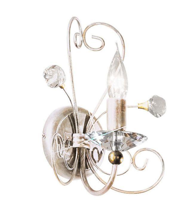 klasyczny kinkiet z kryształami, biały, złoty, pałacowy