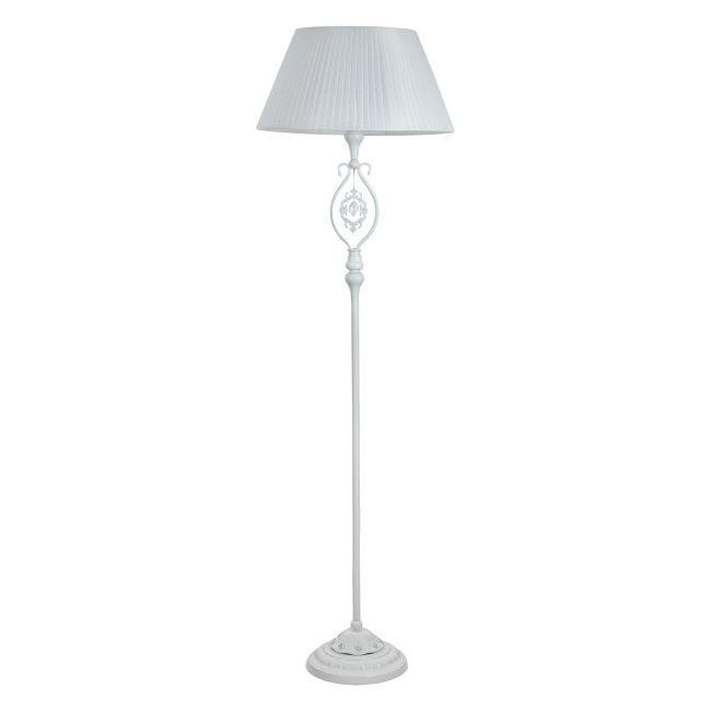 biały nowoczesny abażur w lampie podłogowej