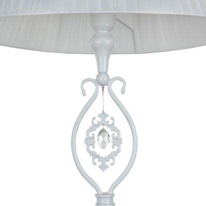 lampa podłogowa biała z kryształkiem i wzorem