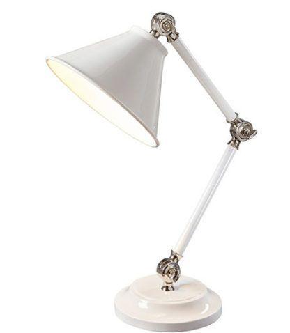 Klasyczna lampa stołowa Prestige biała chrom