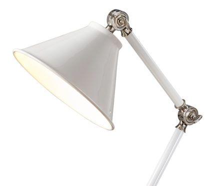 biała, lakierowana lampa biurkowa w klasycznym stylu, regulowane ramię
