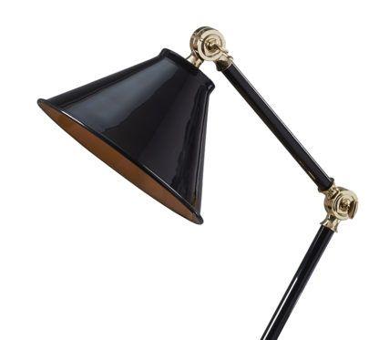 lampa biurkowa w klasycznym stylu, czarny lakierowany kolor i złote detale
