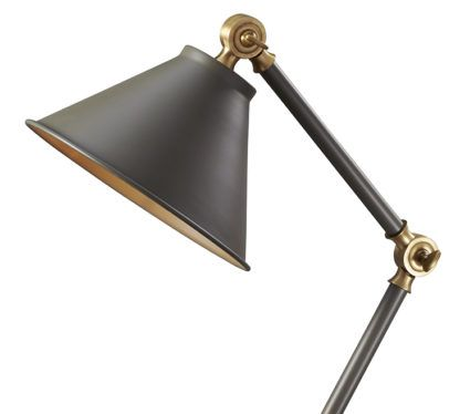 elegancka lampa stołowa w klasycznym stylu, mobilne ramię i złote detale